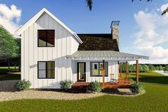 Plan Modern Farmhouse Cabin with Upstairs Loft This is a modern farmhouse style cabin plan that sleeps a couple on the main floor and friends upstairs in the loft.A wrap-around covered porch gives views on three sides of your property. Small Farmhouse Plans, Modern Farmhouse Exterior, Modern Farmhouse Style, Farmhouse Contemporary, Farmhouse Bedrooms, Farmhouse Design, Small Barn Plans, Small Cottage Plans, Farmhouse Addition