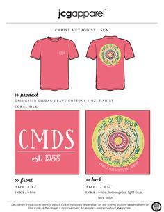 JCG Apparel : Custom Printed Apparel : Christ Methodist Day School Sun T-Shirt #christmethodistdayschool #sun