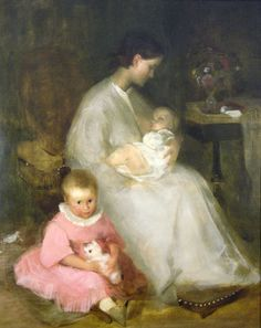 Géza Dósa (Hungarian, 1846-1871) - Mother and Children (with cat), 1870 - Oil on canvas - Hungarian National Gallery, Budapest