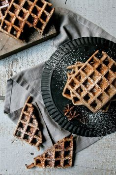 French Delicacies Essentials - Some Uncomplicated Strategies For Newbies Buckwheat Hazelnut Spice Waffles Banana Waffles, Crepes And Waffles, Breakfast Waffles, Savory Breakfast, Sweet Breakfast, Poffertjes, Healthy Dessert Recipes, Desserts, Waffle Recipes