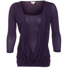 Aubergine Cowl Neck 3/4 Sleeve Top ($6.23) via Polyvore