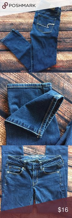 American Eagle Skinny Jeans Short Great denim from AE! Wonderful condition, small wear on front. No trades. This is a short size. American Eagle Outfitters Jeans Skinny