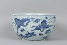 백자 청화 십장생 무늬 대접 조선<br/>白磁靑畫十長生文大楪 朝鮮<br/>Bowl with decoration of ten symbols of longevity