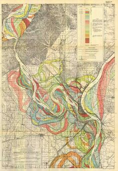 A 1944 map showing the junction of the Mississippi and Ohio Rivers at Cairo, Ill., used aerial photos and soil borings to produce a color-coded guide to the historic twists and turns of the Mississippi. It is still used today.