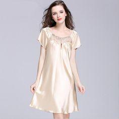 S XXXXL Women s Silk Night Gown Plus Size Summer Sleepwear Night Shirt Dress  Lady Sleepshirt Nightgown bd4bbedd3