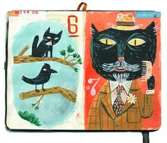 This is a giclee print of a spread from my October Black-cat-a-day sketchbook project. This print is signed & numbered on the front. Please specify if you prefer it signed on the back. The image is 8 x 6 on 10 x 8 smooth matte archival paper. There are 200 prints in this edition.