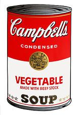 STAMPA SU TELA CANVAS ANDY WARHOL SOUP CAMPBELL ZUPPA 60X40
