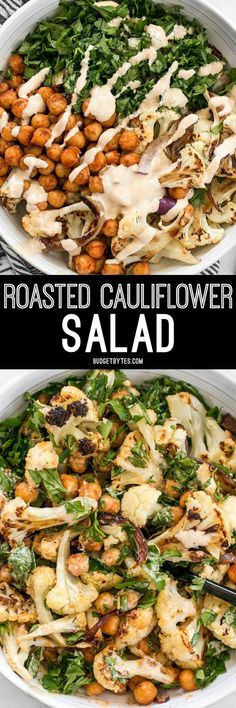 This Roasted Cauliflower Salad combines sweet roasted red onions, spiced chickpeas, tender cauliflower, and a tangy lemon tahini dressing. http://BudgetBytes.com