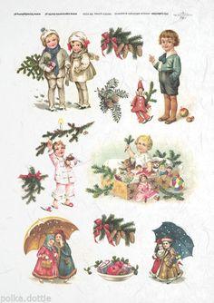 Rice Paper Decoupage Scrapbook Vintage Christmas Children Toys Cute Shabby Chic