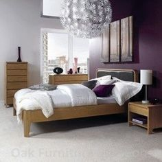 Purple Wall With Oak Furniture