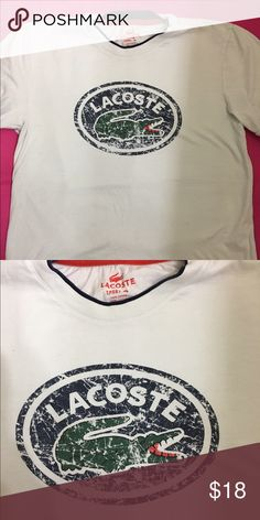 🐊Lacoste Shirt🐊 Off white Lacoste shirt, good condition, no stains, distress design Lacoste Shirts Tees - Short Sleeve