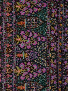 Black-Multicolor Vintage Suzani-embroidered Jamawar Wool Shawl with Pashmina  Pallu Foulards, Châle 966d741f2eb