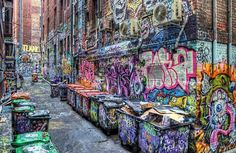 Graffiti alley. (Love all of the colours - mkw)
