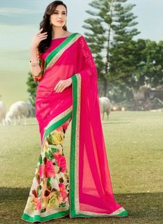 Magenta Multicolored Half and Half Saree