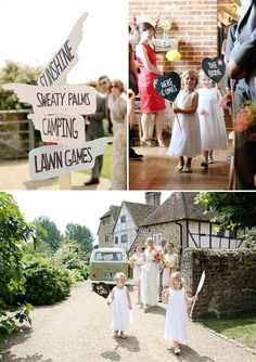 A Festival Inspired Wedding At Grittenham Barn In West Sussex With Bride In Charlotte Casadejus Gown With Hot Pink Sunshine Yellow And Coral Flowers And Vintage VW Camper Images By Dasha Caffrey 0003