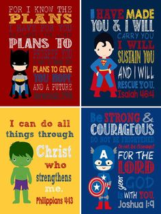 Set of 4 Superhero Wall Art - Christian Print Captain America, Hulk, Batman Superman Nursery Decor - Bible Verse - Instant Download -11x14 by PixiePaperSTL on Etsy https://www.etsy.com/listing/269279831/set-of-4-superhero-wall-art-christian