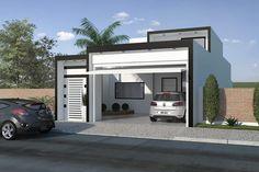Planta de casa com fachada preto e branco - Projetos de Casas, Modelos de Casas e Fachadas de Casas