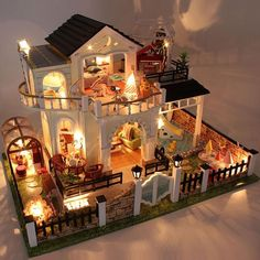 Miniature Garden Pool Villa Craft Model Wooden Dollhouse Furniture With LED Lights DIY Doll House Puzzle Toy Xmas Birthday Gift. Subcategory: Home Decor. Dollhouse Kits, Wooden Dollhouse, Dollhouse Miniatures, Haunted Dollhouse, Victorian Dollhouse, Led Furniture, Furniture Covers, Doll Furniture, Furniture Removal