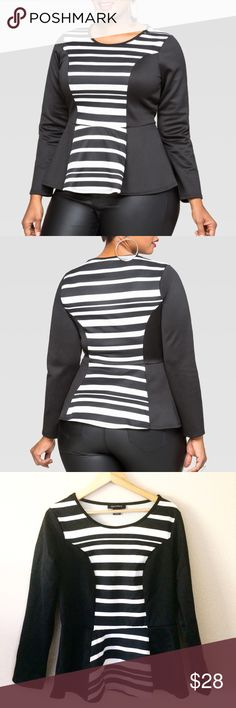 "NWT 14 16 1x plus size striped illusion peplum top So so flattering!!! This plus size peplum top features a scuba knit and illusion stripe front panel. Scoop neck. Long sleeves. Peplum hem. Plus size 14/16 approx. measures 28"" in length. 95% polyester 5% spandex. Made in the U.S.A. Ashley Stewart Tops"