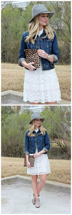Isn't this entire outfits look adorable by adding the denim jacket on this little white lace dress, try her style in early fall.