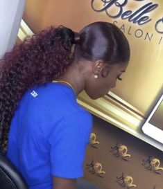 Nice Natural Black Long Straight Hairstyles hair inspiration ideas for pretty wo Black Ponytail Hairstyles, Hair Ponytail Styles, Black Girls Hairstyles, Straight Hairstyles, Curly Hair Styles, Natural Hair Styles, Curly Ponytail Weave, Female Hairstyles, Latest Hairstyles