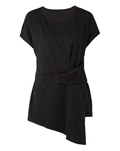 Black Tie Front Short Sleeve Top | Simply Be