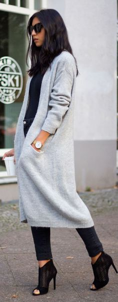 Daily New Fashion : Grey Long Cardigan for Winter and Fall uggcheapshop.com cheap ugg boots for Christmas gifts. lowest price. must have!!!