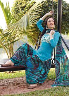 Blue Printed Cotton Punjabi Suit