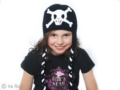 Handmade crocheted skull hat.  This hat will be a very fun accessory for any boy or girl.