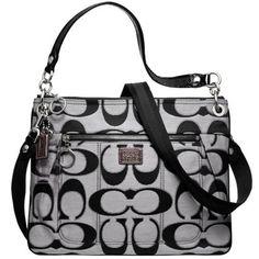 Coach Poppy Black Signature Hippie Crossbody Shoulder Sling Bag Purse Handbag