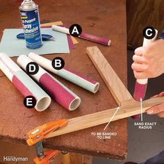 Stick sandpaper to cutoff pieces of PVC water pipe with spray-on adhesive and you'll be able to sand concave curves to perfection. PVC pipe is labeled by inside diameter; here's an index for the outside diameter of useful pipe sizes. 1/2-in. i.d. = 7/8-in. o.d. 3/4-in. i.d. = 1-in. o.d. 1-in. i.d. = 1-1/4-in. o.d. 1-1/4-in. i.d. = 1-5/8-in. o.d. 1-1/2-in. i.d. = 1-7/8-in. o.d. To apply sandpaper to the pipe, spray both the paper and the pipe with a generous layer of adhesive. Let both…