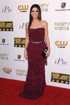 Critics' Choice Awards 2014   Sandra Bullock - who won the Best Actress in an Action Movie award for Gravity - wore a custom-made Lanvin gown with Fred Leighton jewellery and a Roger Vivier clutch.