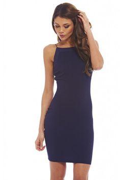 AX Paris Womens Plain Navy Bodycon Thin Strap Mini Dress Office Party Fashion