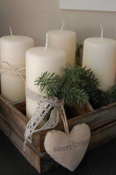 candles on a wood container Merry Little Christmas, Country Christmas, Simple Christmas, All Things Christmas, Winter Christmas, Christmas Gifts, Natural Christmas, Rustic Christmas Crafts, Christmas Candles
