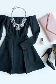 Cold Spells Charcoal Grey Off-the-Shoulder Dress