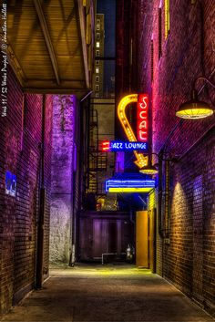 """My current WIP. Tony and Dee visit this place after the wedding they're in town for. Sparks certainly fly!!  """"SCAT Jazz Lounge"""" - by jhollett66, via Flickr Cyberpunk Aesthetic, City Aesthetic, Neon Katt, Jazz Lounge, Jazz Bar, Neon Nights, Jazz Club, Neon Lighting, Arcade"""