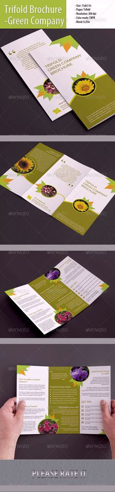 Specifications:       Size: 11×8.5 In & 11.25×8.75 In      Pages: Trifold      Resolution: 300 dpi      Color mode: CMYK      Bleed: 0.25 in  - Working file: Photoshop cs, - Files included: Photoshop cs4 (psd)  - Font used:      Arial (System Default)     Times New Roman     Myriad pro (System Default)     Bebas Neue     Sansation     Photo Not Included.