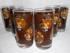 Vintage Hollywood Regency Cocktail  Glasses Set of 6 Big Game Wild Animal Designs Lions Leopard Tiger Cheetah Water Buffalo and Ram
