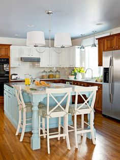 Two-Tone Kitchen Cabinets,, think I would have done just the white cabinets but still it's pretty Two Tone Kitchen Cabinets, Kitchen Redo, New Kitchen, Kitchen Dining, Kitchen Remodel, Wood Cabinets, White Cabinets, Kitchen Island, Kitchen Seating