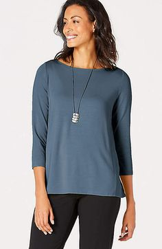5b0fd434 J Jill Wearever Collection Blue 3/4 Easy Tee Shirt Top XS #fashion #