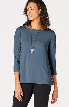 f489c8efc2d4d1 J Jill Wearever Collection Blue 3/4 Easy Tee Shirt Top XS #fashion #