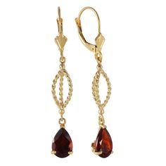 Ladies 14K Solid Gold Fleur de Lis Garnet Earrings