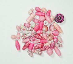 Hand Rolled Loose Paper Beads Supplies Variety Lot Pinks by ThePaperBeadBoutique on Etsy