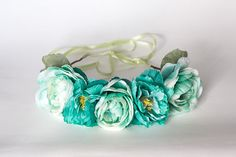 Teal Floral Crown Festival Headband Wedding Flower by LaceyLime