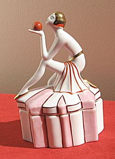 Art Deco Egyptian Revival Lady Figural Powder Box