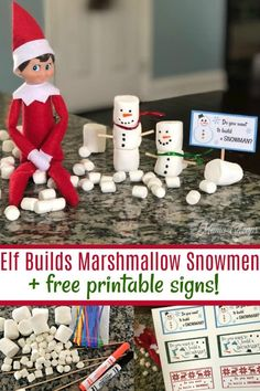 Check out this adorable addition to our Elf on the Shelf ideas- elf builds marshmallow snowmen! Then grab our free printable snowman signs for your elf! Awesome Elf On The Shelf Ideas, Marshmallow Snowman, How To Make Scarf, Christmas Preparation, Build A Snowman, Christmas Elf, Christmas Ideas, Christmas Activities, The Elf