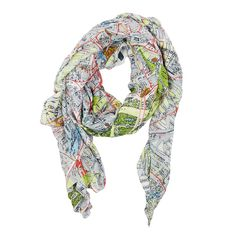 Berlin Map Scarf: Our gorgeous map print scarves are back by popular demand! All are hand screen printed to achieve the depth of colour and pattern and the model and viscose mix fabric makes them absolutely wonderful to wear. The perfect accessory to brighten up any outfit. This street map of Berlin is as cool as the city itself.