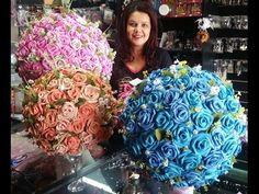 Arranjo de Rosas em EVA - Topiaria - YouTube Nylon Flowers, Paper Flowers, Flower Video, Paper Crafts, Diy Crafts, Most Beautiful Flowers, Birthday Balloons, Topiary, Handmade Flowers