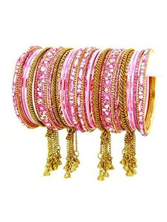 Bollywood Indian designer Bangle Set. Size:2-10. Color:Gold / Light Pink / AZBGBS703-2-10-GLP Arras Creations http://www.amazon.com/dp/B00R9RBY1G/ref=cm_sw_r_pi_dp_3pJ3ub06EBRBN
