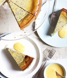 Australian Gourmet Traveller recipe for poppy seed and ricotta cake with lemon curd by The Pickled Sisters Cafe in Wahgunyah, Victoria.